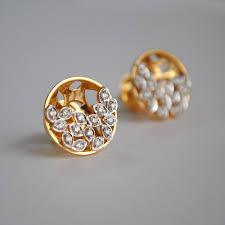 diamond ear studs diamond earrings small concave circle studs 14k gold diamond