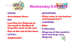 What Is The Hottest Color Warm Ups 1 St Quarter Astronomy Wednesday Topic Classroom