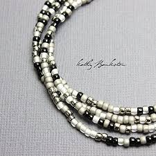 seed bead necklace clasp images Black silver and white seed bead necklace single strand sterling jpg