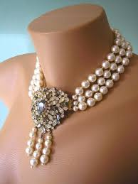 crystal choker necklace wedding images Great gatsby jewelry statement necklace art deco jewelry pearl jpg