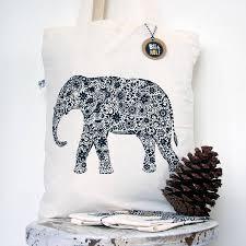 screen printed indian elephant book bag by bat u0026 wolf