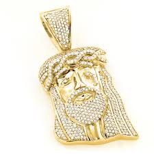 jesus cross gold necklace images Yellow gold plated diamond jesus head pendant in sterling silver 1ct jpg