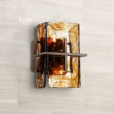 french country bronze amber art glass kitchen island bronze gold art glass 8 wide wall sconce v1965 ls plus