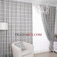 Grey Plaid Curtains Stylish Grey Plaid Check Cotton Energy Saving Curtains Buy Grey