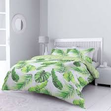 Dunelm Mill Duvet Covers Tropical Leaves Green Reversible Duvet Cover And Pillowcase Set
