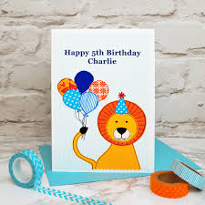 lion u0027 personalised childrens birthday card by jenny arnott cards
