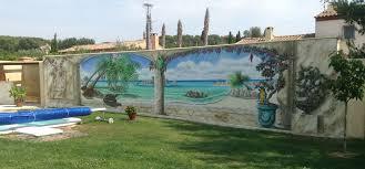 fresque carrelage mural peinture murale de plage au bord d u0027une piscine