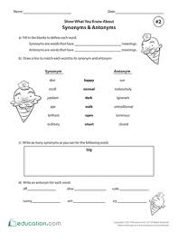 show what you know about synonyms u0026 antonyms 2 worksheet
