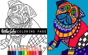 50 pug coloring book art pages dog coloring book