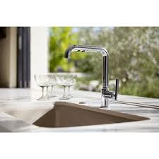 single kitchen sink faucet k 7505 bl cp sn kohler purist single kitchen sink faucet with