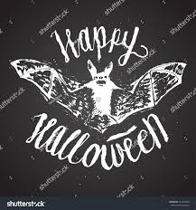 halloween sign calligraphy scary bat rusty stock vector 327243305