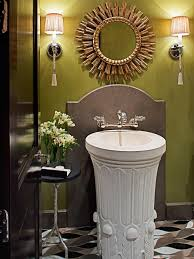 glorious pedestal bath sink under mirror showcasing circular