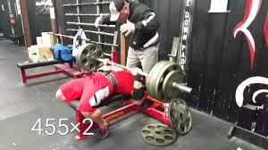 week 3 bench press training 455 2 2 sets u0026 mike u0027s 500 bench youtube