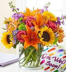 get well soon flowers floral embrace with get well soon balloon carithers flowers