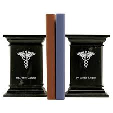 engraved bookends marble bookends with caduceus