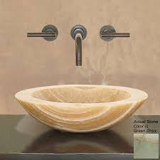 Stone Bathroom Sinks by Shop Terra Acqua Montecito Green Onyx Stone Vessel Round Bathroom