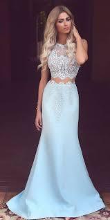 light blue dress light blue satin prom dress white lace see through mermaid