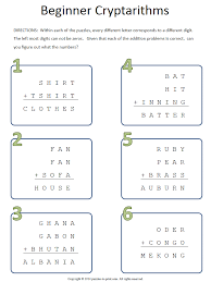 beginning cryptarithms worksheet