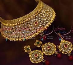 wedding jewelry choker necklace images Nl8750 latest broad antique grand choker necklace maangtikka JPG