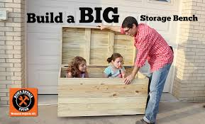 build a big outdoor storage bench for seat cushions toys tools