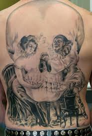 evil clowns small and large back piece tattoo image galleries
