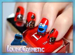 nail art cookie monster sesame street lovingcosmetic