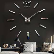 Home Decor Wall Clock Home Decor Large Mirror Sticker Wall Clock Modern Design 3d Diy