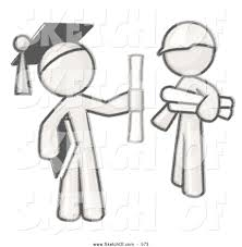 drawing of a pair of people a sketched design mascot man graduate