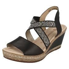 remonte ladies wedged sandals d4566 black women u0027s shoes