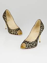 christian louboutin leopard print metallic fabric giaguaro
