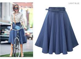 2017 womens denim jean skirt short maxi cotton fashion elastic
