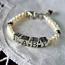 Name Braclets Birthstone And Freshwater Pearl Baby Name Bracelet