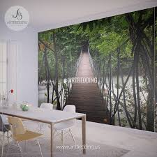 wall murals peel and stick self adhesive vinyl hd print tagged suspension bridge thailand jungle wall mural self adhesive peel stick photo mural forest