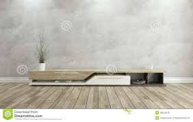 tv stand with concrete wall 3d design rendering stock illustration