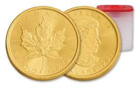 What Leaf Is On The Canadian Flag 2018 Canada 1 Oz Gold Maple Leaf Bullion 10 Coin Roll Bu Govmint Com
