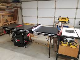 sawstop professional cabinet saw 1 75 hp sawstop 1 75 hp professional table saw w 52 fence rails and