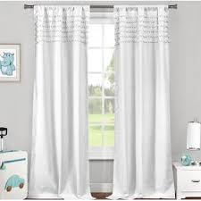 Teal And White Curtains White Curtains With Tassels Wayfair