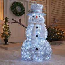 48 3d led lighted twinkling snowman with scarf sculpture american