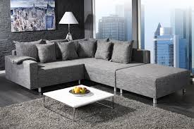 sofa anthrazit design ecksofa mit hocker loft strukturstoff anthrazit federkern