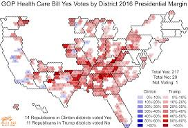 2016 Presidential Map These 24 House Republicans Voted For Trumpcare In Seats Where