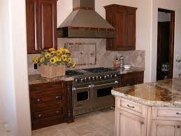 walnut travertine backsplash kitchen stone hood vent with wood ledge travertine backsplash