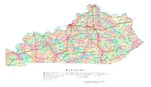Map Of United States With Interstate Highways by Large Administrative Map Of Kentucky State With Highways And