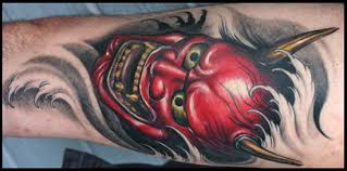 red hannya mask tattoo on chest photos pictures and sketches