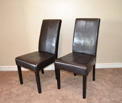dining room black leather parson chairs for furniture appealing