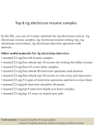 sample resume for electrician top8rigelectricianresumesamples 150530085851 lva1 app6891 thumbnail 4 jpg cb u003d1432976375