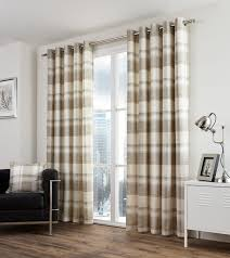 Whitworth Duck Egg Lined Curtains Balmoral Check Natural Ready Made Curtains