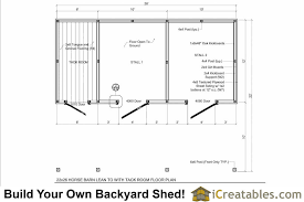 Barn Designs For Horses 2 Stall Horse Barn Plans With 10x12 Stalls And Tack Room