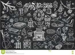 New Year Decoration On Blackboard by New Year Season Doodle Icons Symbols Chalk Stock Vector Image