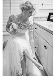 2018 art deco style wedding dress bateau beads lace tulle bridal