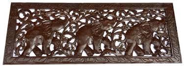 Elephant Home Decor Tropical Home Decor Carved Wood Wall Art Elephant Wood Carved